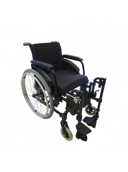 Cadeira de Rodas K2 Alumínio Pés Eleváveis 46cm Preto Ortobras