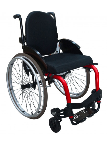 Cadeira de Rodas Monobloco M3 40cm Vermelho Perolizado com Pneus Cinza Ortobras