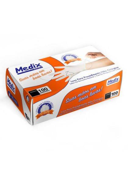 Luva Procedimento Latex C/ 100uni PP Medix