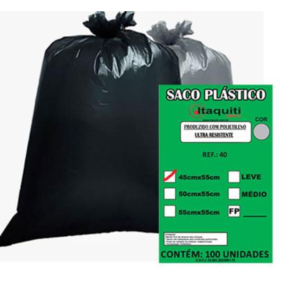 Saco de Lixo Preto 40 Litros 45x55 Médio 100uni Itaquiti