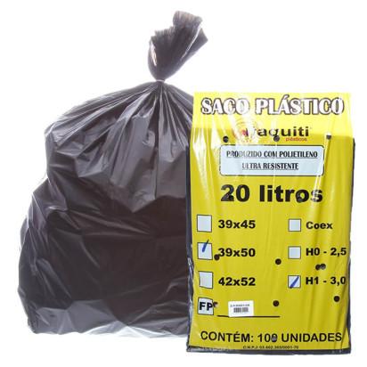 Saco de Lixo Preto 20 Litros 45x55 Médio 100uni Itaquiti