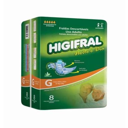Fralda Descartável Higifral Noite e Dia G com 8 Eurofral