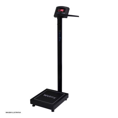 Balança Antropométrica Digital 200kg com Régua Led Preta Welmy