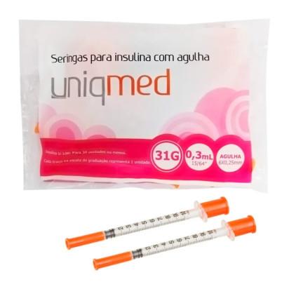 Seringa Descartável P/ Insulina Pct C/ 10uni U-100 6x0,25 Uniqmed