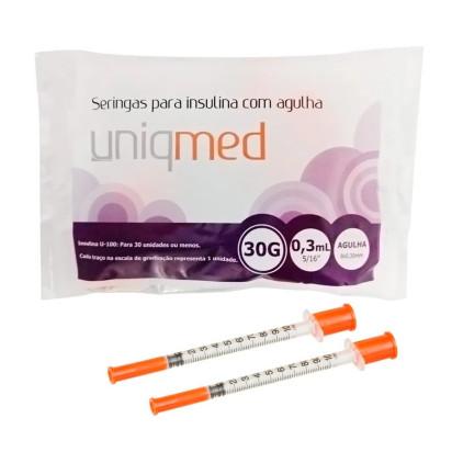 Seringa Descartável para Insulina Pacote com 10uni U-100 8x0,30 Uniqmed