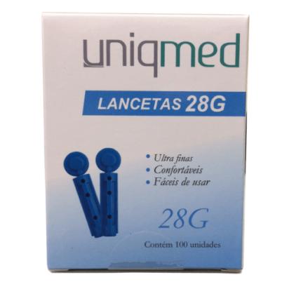 Lanceta 28g com 100 Und Uniqmed