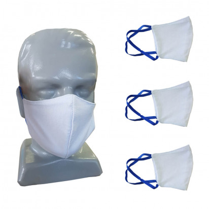 Máscara Lavável com Elástico - KIT c/ 3 Unidades