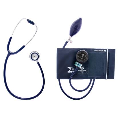 Aparelho de Pressão Bic Adulto Velcro com Estetoscópio Duo + Bolsa Azul