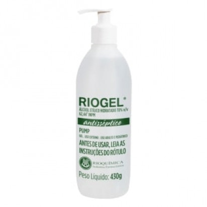 Álcool Gel Riogel 430g Pump Rioquímica