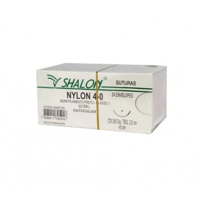 Fio nylon 4-0 c/ag 1/2 cir trg 3,0cm 45cm SHALON unidades