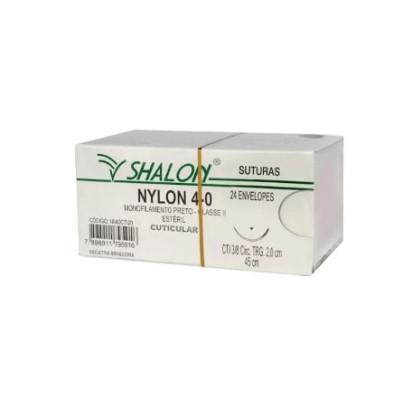 Fio nylon 4-0 c/ag 3/8 cir trg 3,0cm 45cm SHALON unidades