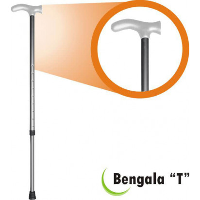 Bengala Alumínio T com Regulagem Cinza/Cinza Fina 3/4 BTRCC Alo