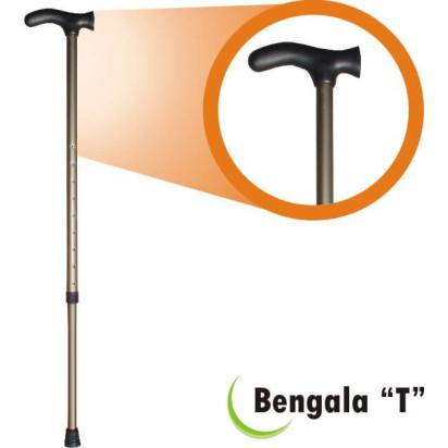 Bengala Alumínio T com Regulagem Bronze/Preta Fina 3/4 BTRBP Alo