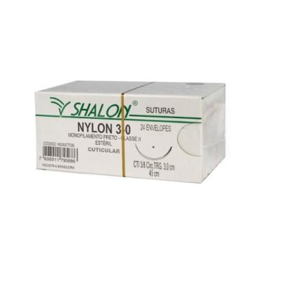 Fio nylon 3-0 c/ag 3/8 cir trg 2,4cm 45cm SHALON unidade