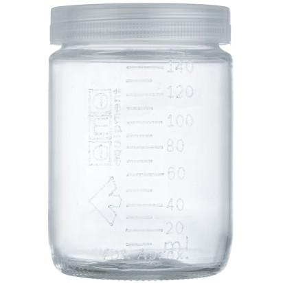 Frasco de vidro com tampa graduado 150 ml matern milk