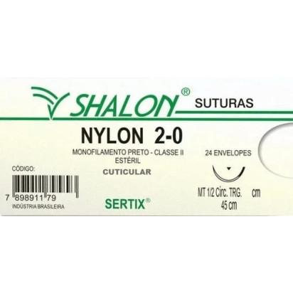 Fio Nylon 2-0 C/Ag 1/2 Cir Trg 2,5cm 45cm Shalon
