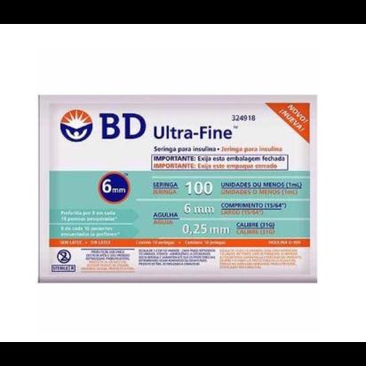 Seringa Desc Ultra Fine U-100 AG 6MM 31G C/10UN