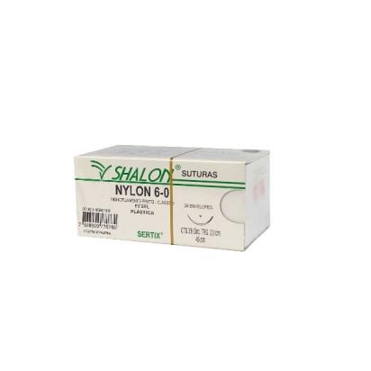 Fio nylon 6-0 c/ag 3/8 cir trg 2,0cm 45cm Shalon Unidade
