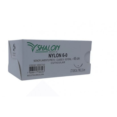 Fio nylon 6-0 c/ag 3/8 cir trg 3,0cm 45cm SHALON unidade
