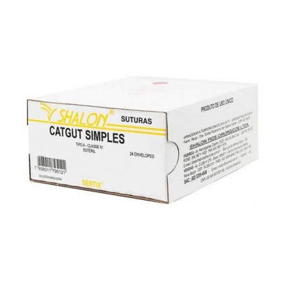 Fio cat gut simples 2-0 c/ag 1/2cir cil3,0 75cm SHALON Unidade