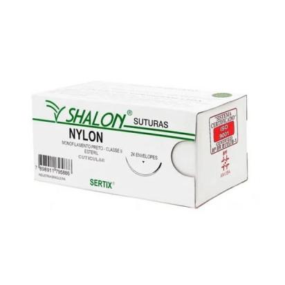 Fio nylon 2-0 c/ag 3/8 cir trg 3,0cm 45cm SHALON unidade