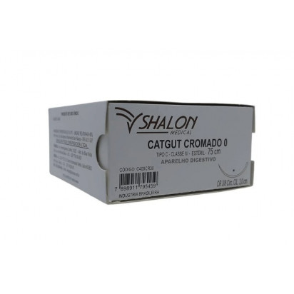 Fio cat gut cromado 2-0 c/ag 3/8cir cil3,0 75cm SHALON unidades