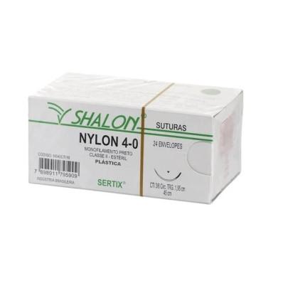 Fio nylon 4-0 c/ag 3/8 cir trg 2,4cm 45cm SHALON unidade