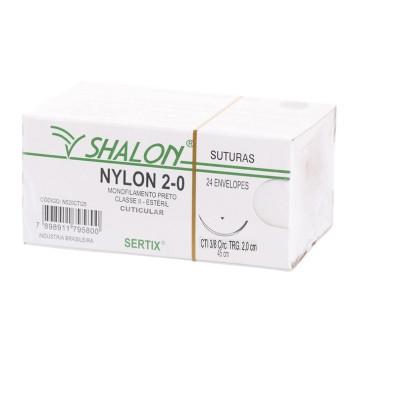 Fio nylon 2-0 c/ag 3/8 cir trg 2,0cm 45cm SHALON unidades