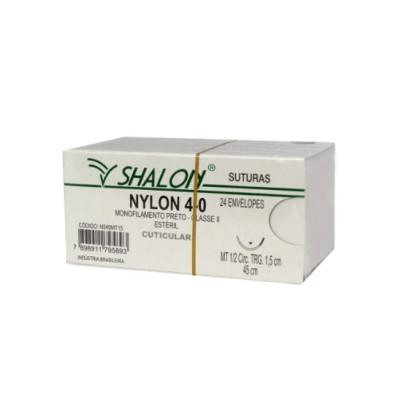 Fio nylon 4-0 c/ag 1/2 cir trg 1,5cm 45cm SHALON unidade