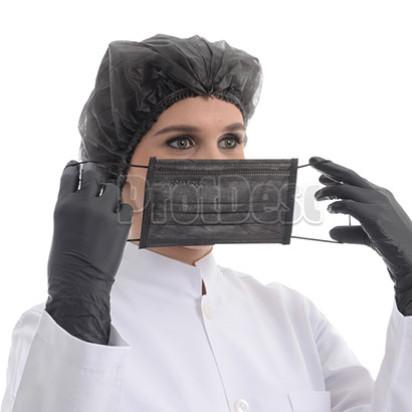 Touca Elastica Sanfonada preta com 100 unidades da marca Protdesc